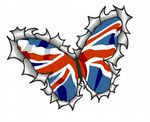 Ripped Torn Metal Butterfly Design With Union Jack British Flag Motif External Vinyl Car Sticker 125x90mm